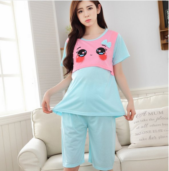 Free shipping pregnant women clothing set for summer breastfeeding pajamas maternity Cartoon nursing sleepwear nightgown fashion