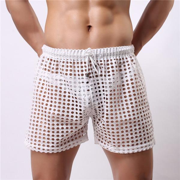 Hommes Sexy Mesh Boxer Shorts Sous-vêtements Gay Creux Out Trou Hommes Slim Sissy Panties Pouch Voir à travers Les Hommes Boxer Shorts Sous-vêtements