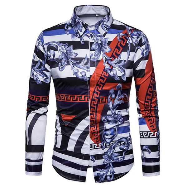 2018 neue 3D Gedruckt Gericht Wind Shirts Männer Mode Kleid Hemd Freizeithemd Langarm Casual Slim Fit Männlich Shirts