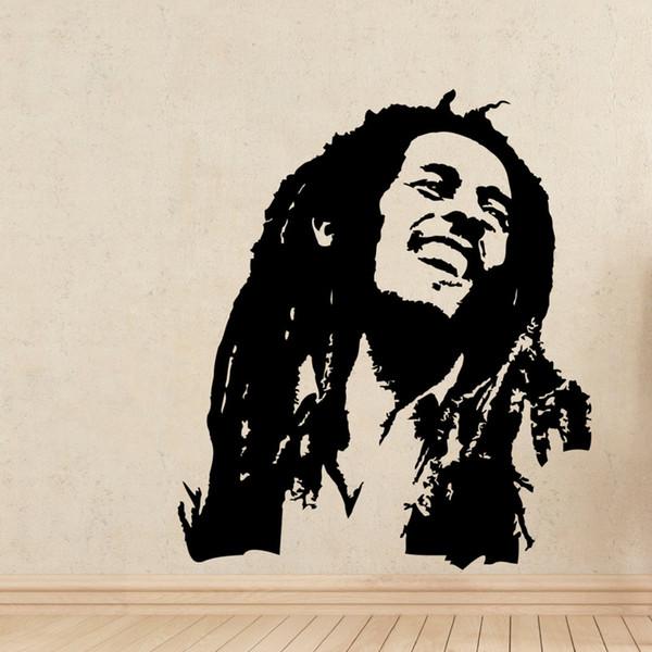 Decalcomanie da muro di musica Bob Marley Reggae Rasta Giamaica Adesivo da parete in vinile di grandi dimensioni per la casa decorativa