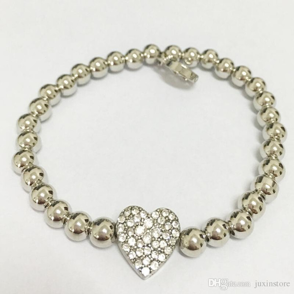 2018 hot sale !!! Famous Brand letter bracelets with love crystal heart pendant Bead 925 silver chain Charm Bracelets jewelry for men women
