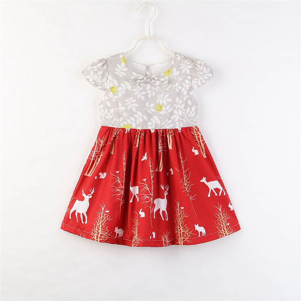 a186786bbfa3 Christmas Dress for Girls 2018 New Toddler Baby Girl Clothes Princess Deer  Floral Print Bow Party
