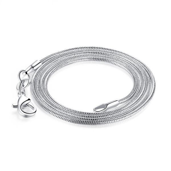 Livraison Gratuite 100pcs / lot Haute Qualité 925 Sterling Silver Smooth Snake Chaînes Collier Grande Taille 26
