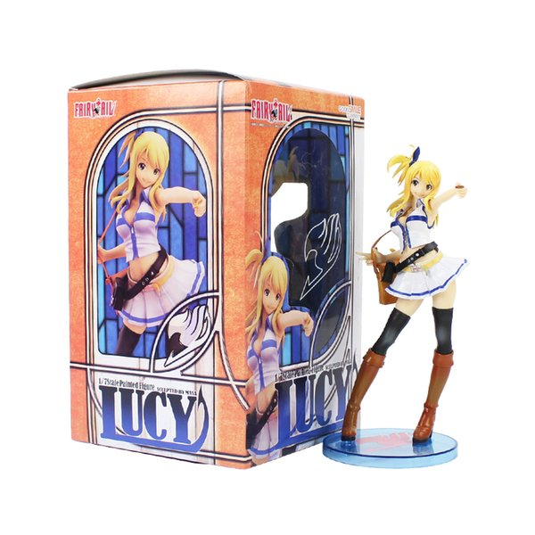 20cm Fairy Tail Lucy Heartfilia 1/7 Scale Painted Figure White Dress Figurine PVC Action Figure Collectible Model Toy Doll