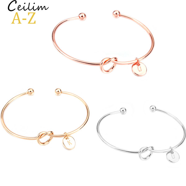 top popular 26 Letter Rose Gold Silver Gold Color Knot Heart Bracelet Bangle Girl Fashion Jewelry Zinc Alloy Round Pendant Chain & Link Bracelets 2019