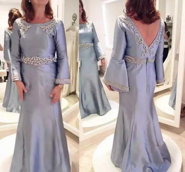 Simple Design Long Sleeve Mother of the Bride Dresses Open Back Jewel Sequins Elegant Mother's Dresses Fashion Evening Dresses