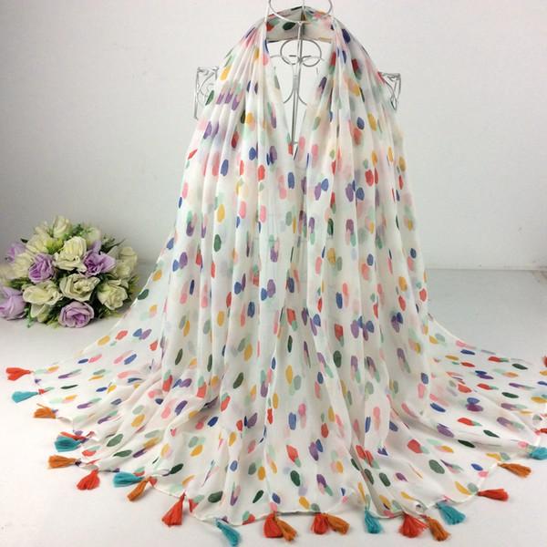 Bei Colourful Dots Nappe Sciarpa 2018 Moda donna scialli e sciarpe in viscosa Hijab musulmano 10pcs / lot