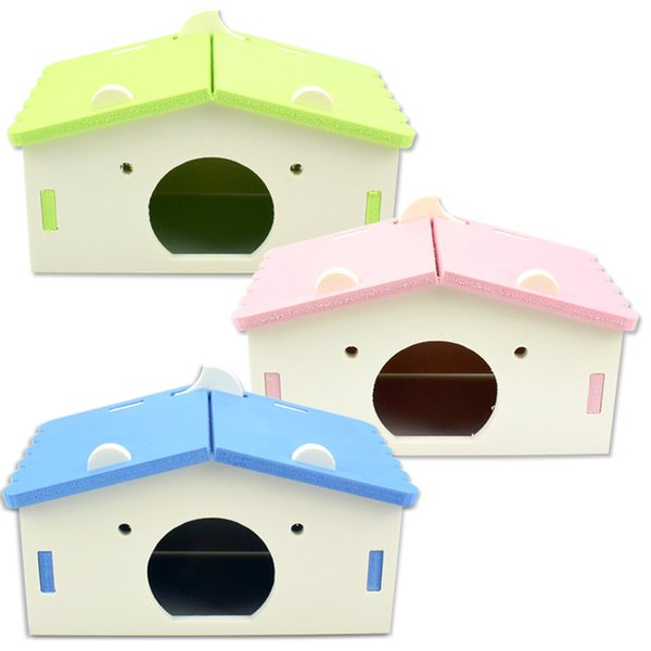 Cartoon Hamster Spielzeug Nest Kleines Tier Holzhaus Bett Käfig Nest Pet Hedgehog Schloss Spielzeug Pet House