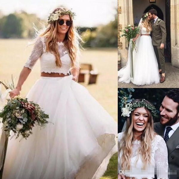 Discount 2018 Two Piece Boho Wedding Dress Country Lace Top Half Sleeve Tulle Long Skirt Beach Wedding Dresses Bridal Gowns Cheap Outdoor Bride Dress