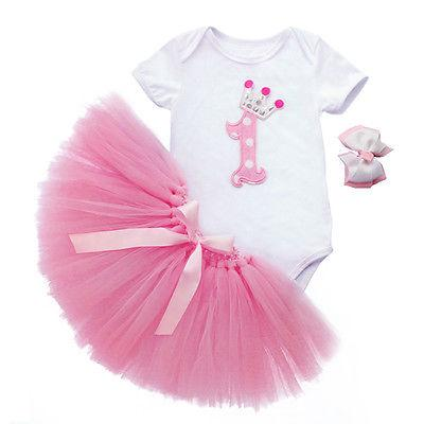 75f626fe7703 3Pcs Set Baby Girl Crown Tutu Dress Infant 1st Birthday Party Outfit Romper  Bubble Skirt Headband Newborns Tulle Vestidos