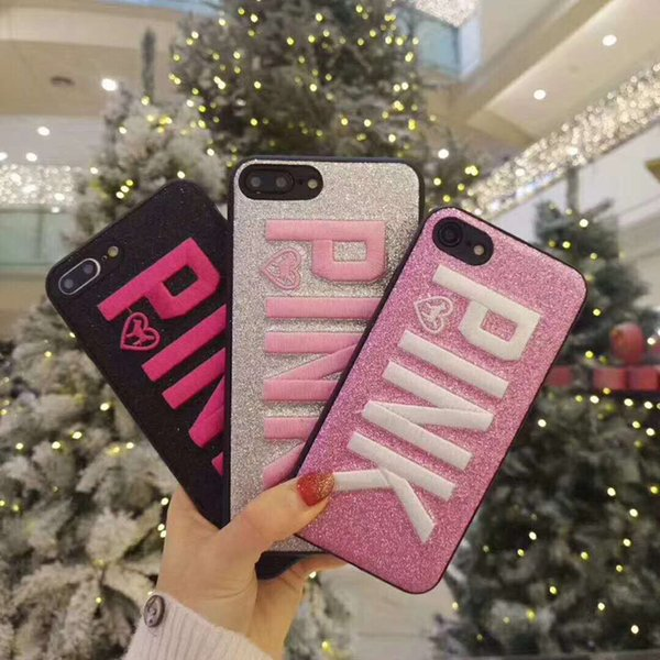 Fashion Design PINK Cover Glitter 3D Embroidery Love Pink Phone Case For iPhone X 8 7 Plus 6 6s Samsung S10 Note 9