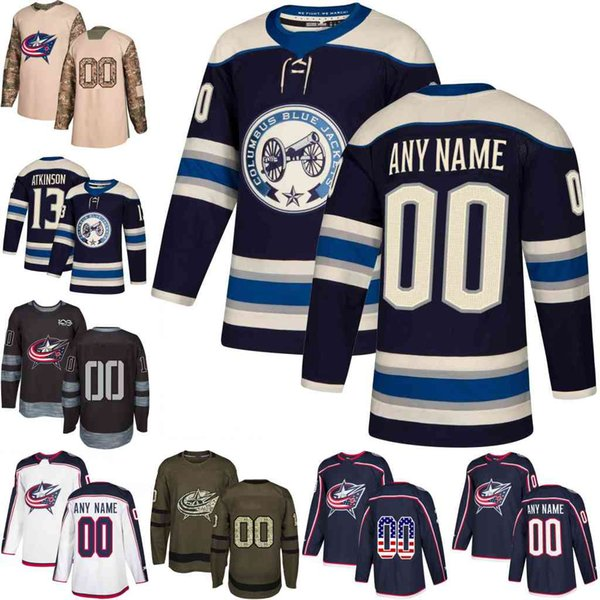2019 Navy Alternate Custom Mens Women Youth Columbus Blue Jackets Cam Atkinson Nick Foligno Sergei Bobrovsky hockey Jerseys stitched S-3XL