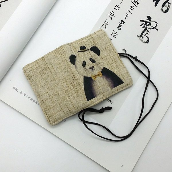 Chinese traditional ink painting Hand-printed literary small fresh draw card holder card personalized custom linen handmade bag