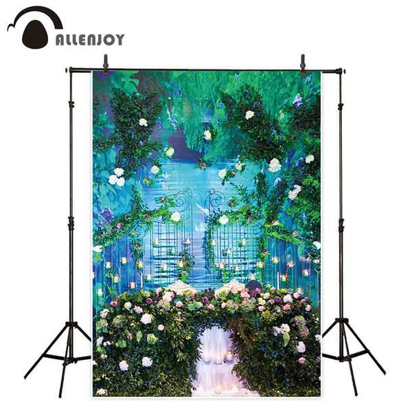 Allenjoy Hintergründe für Fotografie Studio Romantische Hochzeit Dekoration Blumen Pflanzen Eisentor Kerzen Hintergrund Photocall