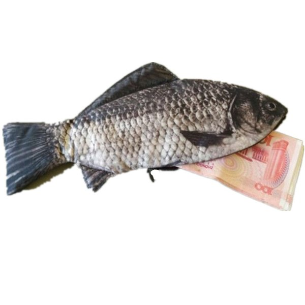 Women Men Wallets Polyester Wallet Zipper Day Clutch Coin Purse Ladies Fish Shape Wallet For Students Pen Phone Storage Bag HB67