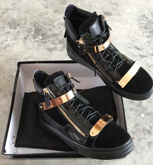 (с коробкой)итальянский дизайнер моды новый высокий топ мужчины замши кроссовки в черный / красный / синий, круглый мыс золото Тон аппаратных зашнуровать повседневная обувь