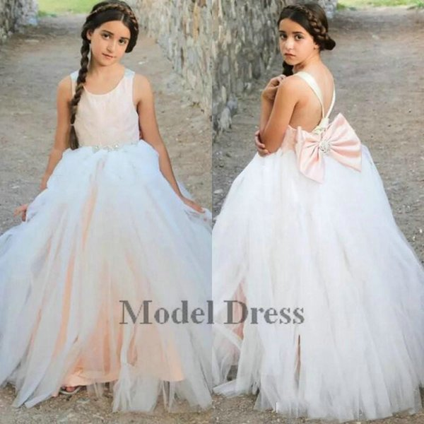 Blush Pink Ivory Flower Girls Dresses Open Back with Bow Satin Tulle Cute Girls Pageant Dresses for Proms Birthday Party Gowns Cheap 2018