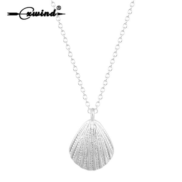 Cxwind Altın Gümüş Kaplama Moda Deniz Kabuğu Kolye Basit Kabuk Kolye Denizcilik Takı Sevimli Kabuklu Deniz Kabuğu Kolye