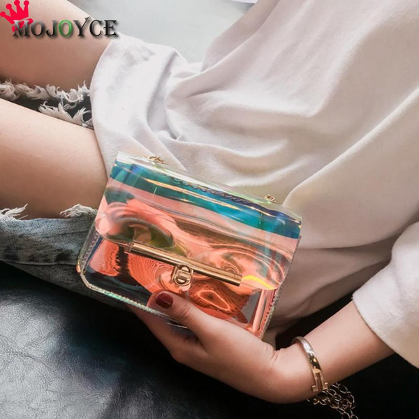 handbag small MOJOYCE Women Transparent Hand Small Crossbody Messenger Chain Laser Shoulder Bags Female Clear bags for Women 2018