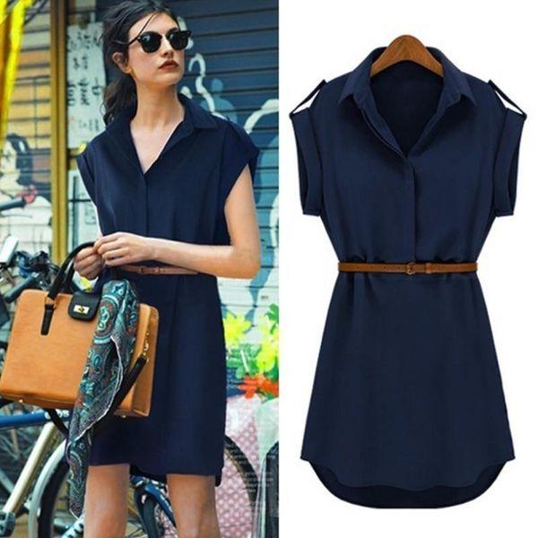 2019 Fashion Summer Style Dress Women Casual V-neck Short-Sleeved Shirt Loose Chiffon Mini Dress with Belt Soil Khaki,Navy Blue