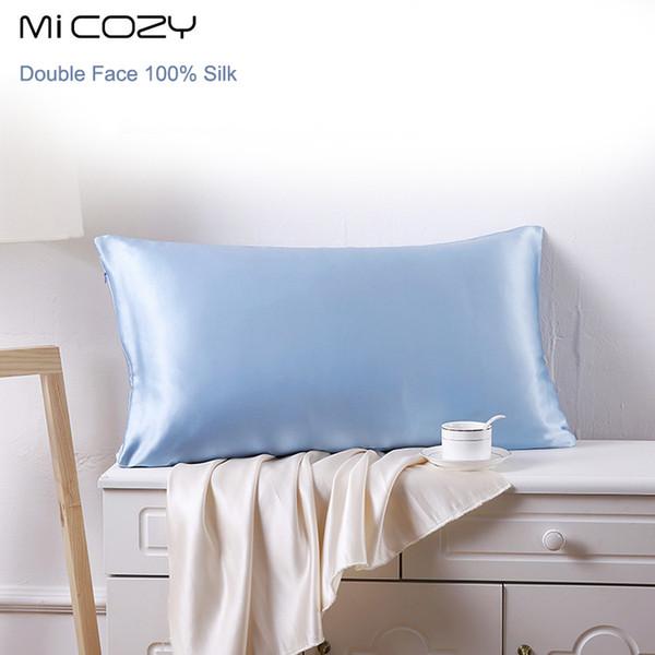 100% soie taie d'oreiller simple Charmeuse Satin Taie d'oreiller avec fermeture à glissière, 1pc