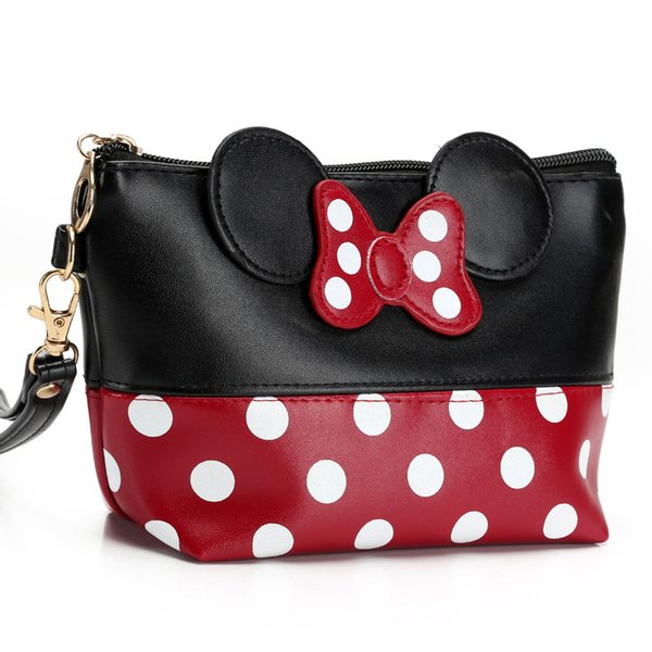 Lady Beautiful Bowknot Cosmetic Toiletry Bag PU Clutch Makeup Dot Handbag Mouse Ear Organizer Carry on Pouch Case For Travel Trip Bag