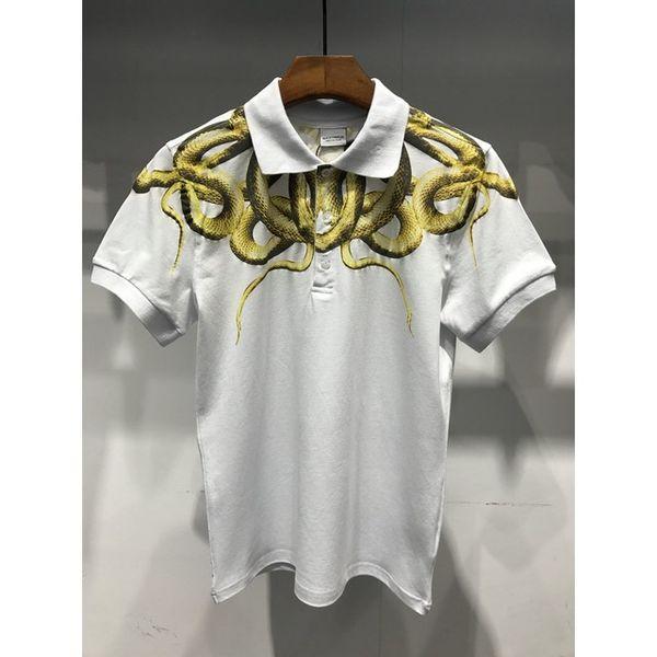 MARCELO BURLON snake printed 2018 Cotton Polo Shirts Men shirt Feather wings Top Quality Marcelo Burlon Polo Shirts Men 6 colors