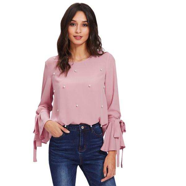Tops con cuentas nuevas de mujer Blusa con manga de volantes atados con lazo de perlas Blusa con manga larga de volantes con cuello redondo rosada