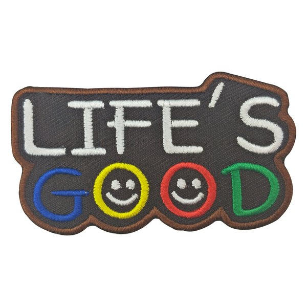 Life's Good Embroidered Patch Parches Embroidery Iron on Patches for Clothing DIY Stripes Clothes Stickers Appliques
