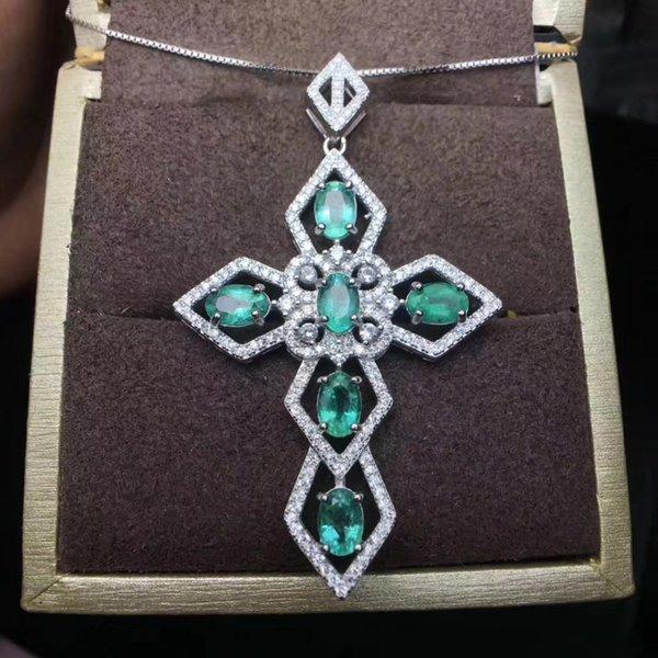 natürliche Smaragd Kreuz Anhänger Halsketten natürlichen Edelstein Anhänger S925 Silber elegante Persönlichkeit Frauen Party Glück feinen Schmuck