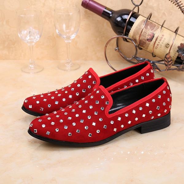 Mocasines de hombre hechos a mano de cristal blanco negro rojo moda cuero genuino fiesta de hombres y zapatos de vestir de boda pisos de hombres EU46