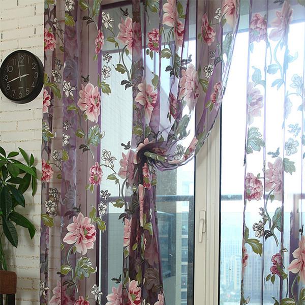 top popular Window Curtains Durable Floral Tulle Voile Curtain Sheer Panel Drape Scarfs Elegant Modern Luxury Home Decor Retro Rose Window Drape Valance 2020