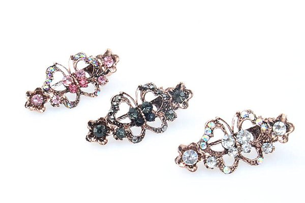 2pcs Fashion Butterfly Hair Pin Women Popular Hair Clip Brides Vintage Hair Jewelry Elegant Wedding Accessories 172-1