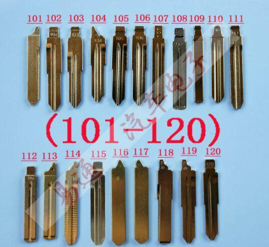 20Pcs/Lot Folding key blade Full Types Car key embryo replacing the key head Remote Blade Original Slot Type A NO 101-120