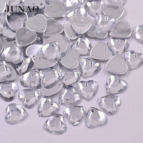 JUNAO 10mm 20mm 25mm Sewing Clear White Heart Rhinestones Flatback Acrylic Crystal Stones Sew On Beads For Clothes Dress Crafts
