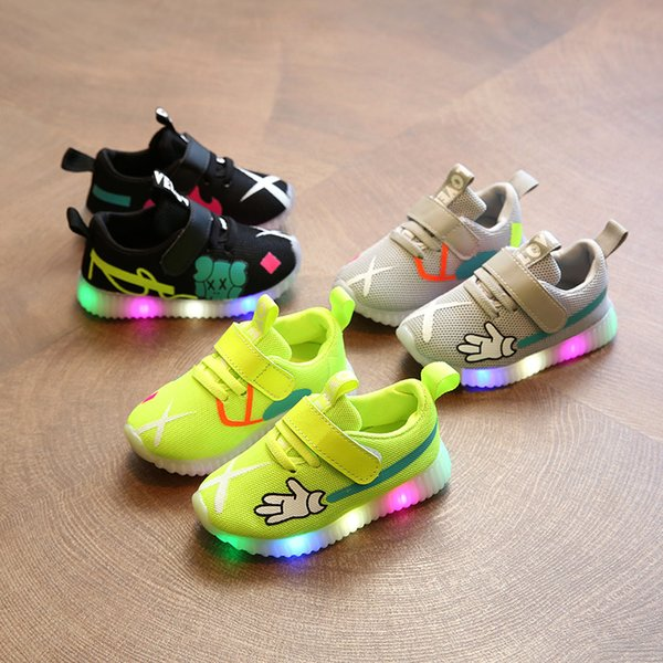 LED lowest price!Autumn 2018 Baby First Walkers shoes children's sports shoess mesh shoes girl boy running shoes