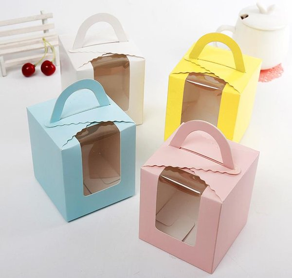 best selling Free shipping single cupcake boxes with window with handle macaron box mousse cake box 4 colors