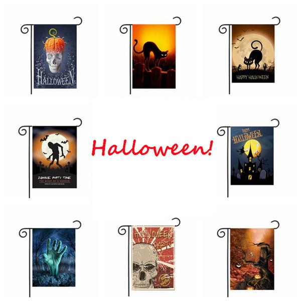 Halloween Garden Flag Pumpkin Ghost Print Garden Flags Poliéster colgante Bandera Decoración de la casa Portable Banner 13 colores