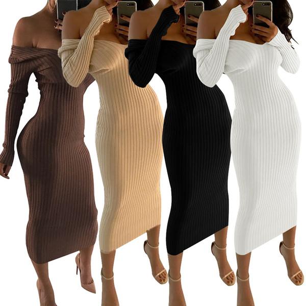 Mode manches longues hors épaule Slash Neck Sexy Club femmes robe Slim Bodycon chandail tricoté Longueur genou robes de soirée