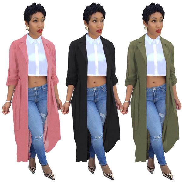 Novo Entalhado Pescoço Mulheres Trench Coat Sólido Moda manga comprida cardigan chiffon camisa jaqueta Casual Longo Ponto Aberto Casaco Outwear