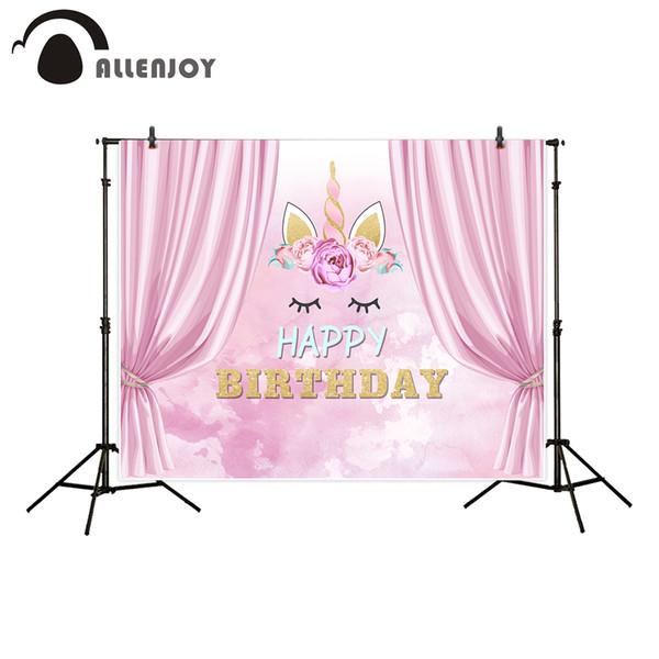 Allenjoy Fotografie Kulisse Rosa Vorhänge Cute Einhorn alles Gute zum Geburtstag Hintergrund Foto Studio neue Design Kamera fotografica