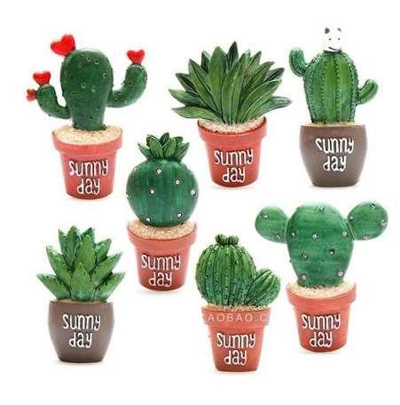 Yaratıcı Kaktüs Bitkiler Dolabı Mıknatıslar Kawaii Sevimli Bitkiler Dekoratif Buzdolabı Hatıra Manyetik Sticker X # RT