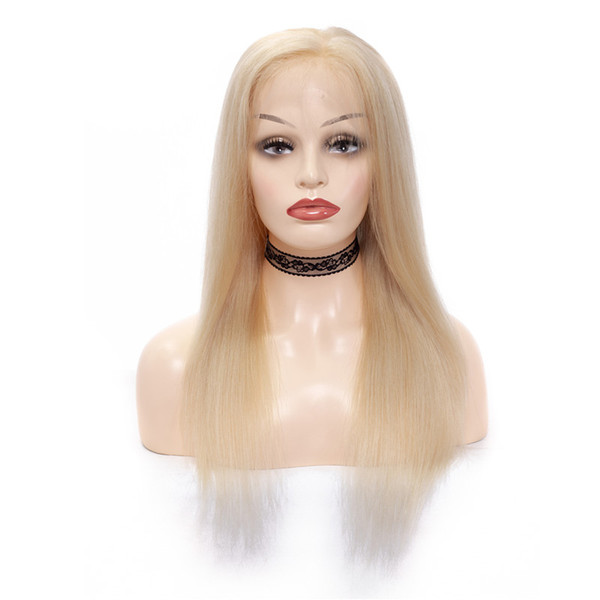 Tangle free 100% unprocessed raw virgin remy human hair long #613 natural straight full lace cap wig for women