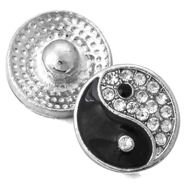 Silver Crystal Snap Charm Bracelet Jewelry Fit Mini 12mm Snap Buttons For Women