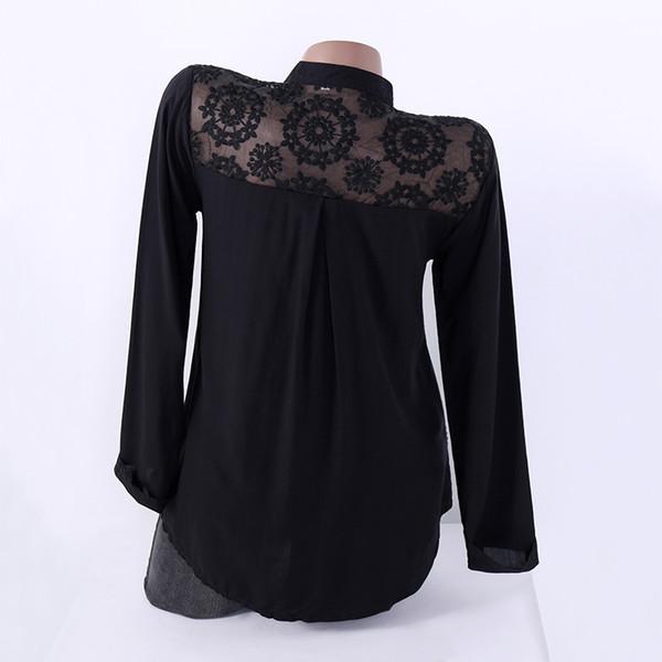 44d34f1de3eaf 2018 Autumn Female Shirts Lapel Long Sleeve Fashion Women Black Lace Blouses  Casual Top Loose Ladies Work Office Blusa Plus Size