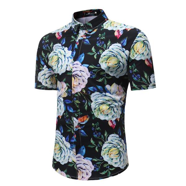Men's Shirt 2018 New Fashion Slim Fit Print Short Sleeve Shirt Summer Casual Flower Mens Shirts Asian size M-3XL