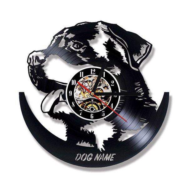 Animal Wall Clock Modern Design DIY Your Dog Name Clocks Vintage Retro  Vinyl Record Wall Watch 3D Stickers Silent Home Decor Traditional Wall  Clocks