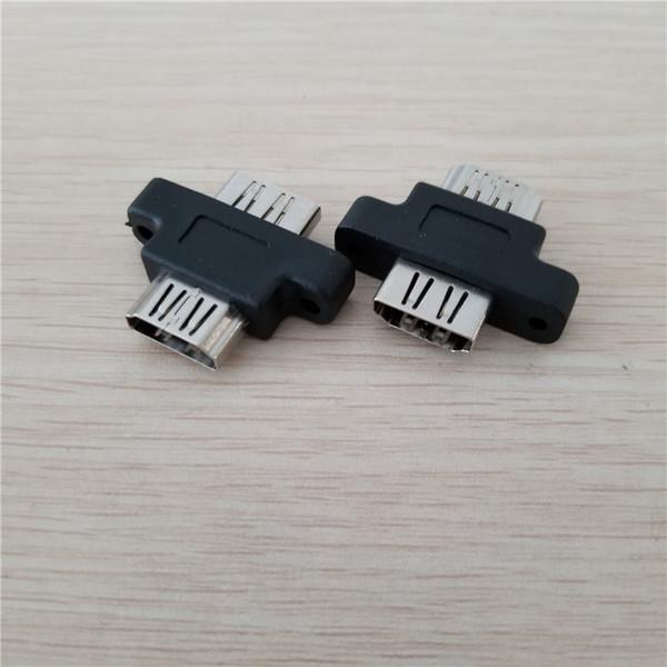 Toptan 100 adet / grup HDMI Tip A Kadın Kadın HDMI Genişletici Adaptörü Vida Kilit Paneli Dağı Bağlayıcı Jack Siyah