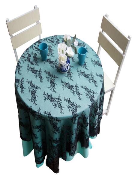 top popular Square Lace Fabric Wedding Tablecloths Party Home Decor Vintage Kitchen Table Cloths Floral Textiles Decoration 130*150cm WHITE BLACK 2020
