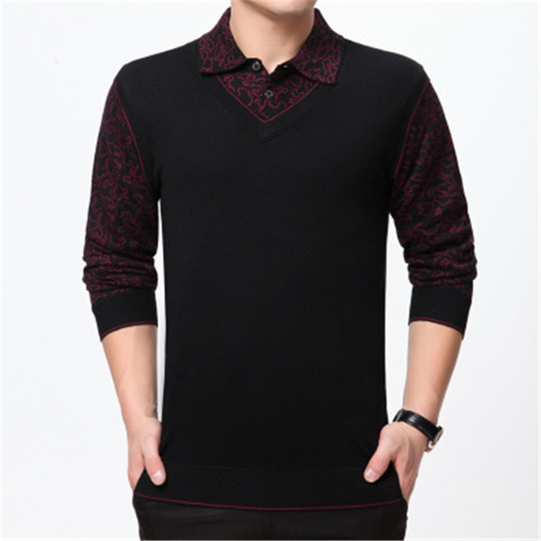 Fashion False Two Sweater Men Clothing Wool Mens Sweaters Long Sleeve Shirt Pullover Men Slim Fit Dress Casual Pull Homme S-4XL M-101